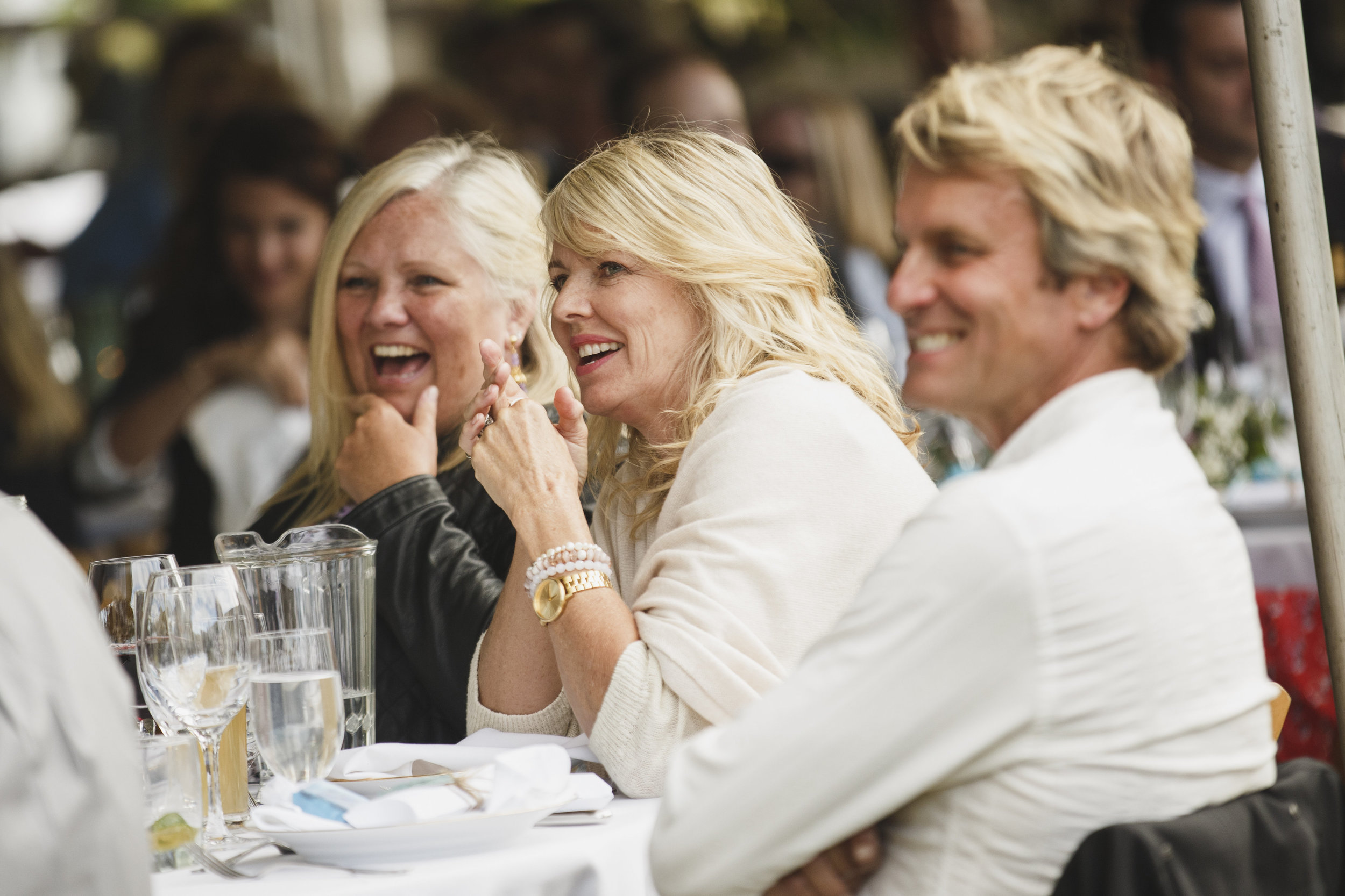 The guests are smiling beach wedding reception Tofino Sea Cider Vancouver Island