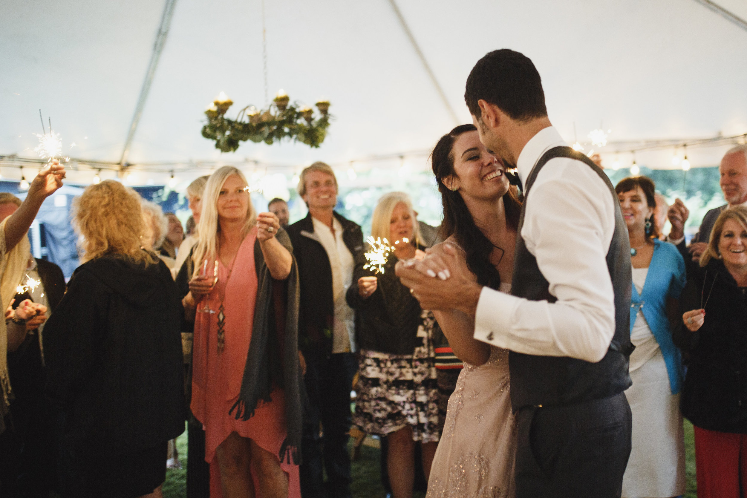 Married couple bride and groom first dance Beach wedding reception Tofino Sea Cider Vancouver Island
