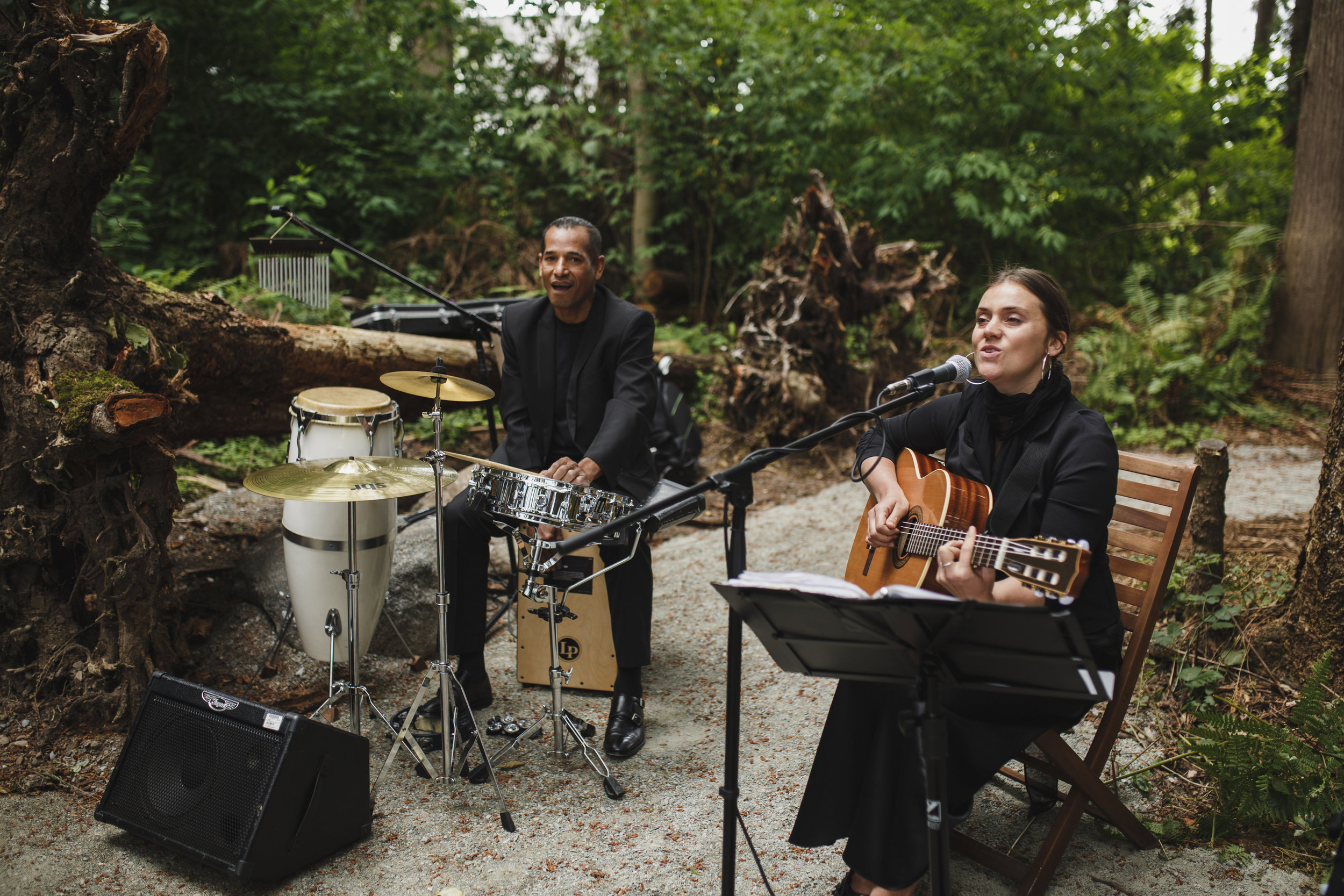 Musicians playing forest wedding Tofino Sea Cider Vancouver Island