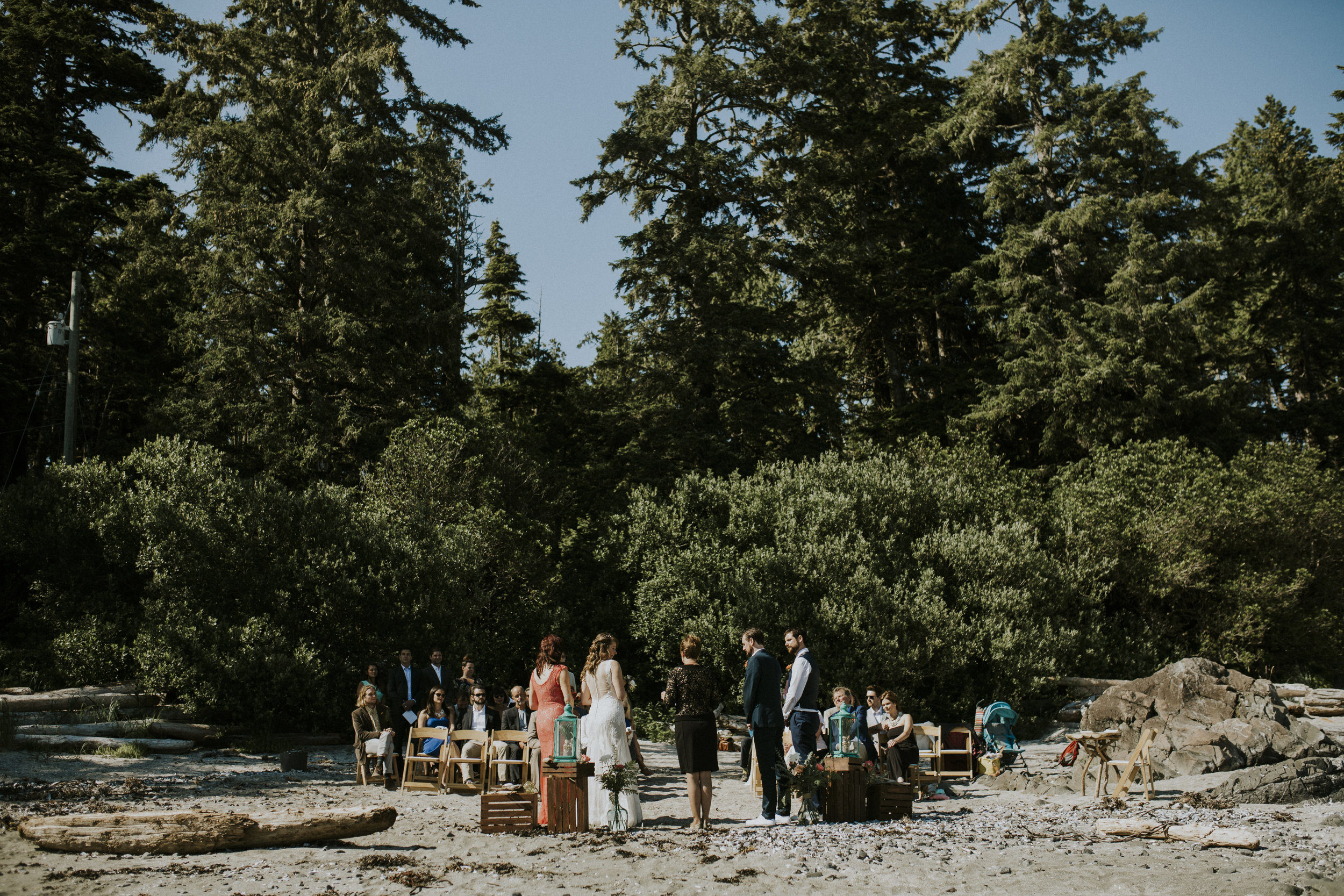 wedding ceremony on seashell beach wickaninnish inn tofino