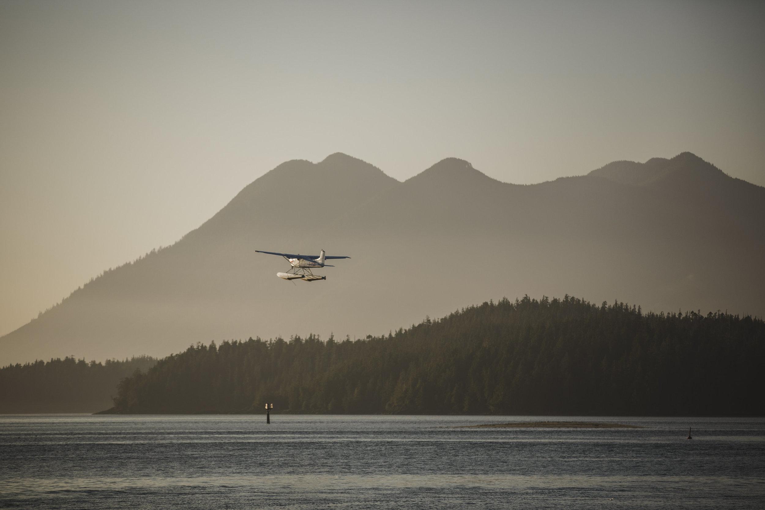 float plane in tofino sunset beach wedding