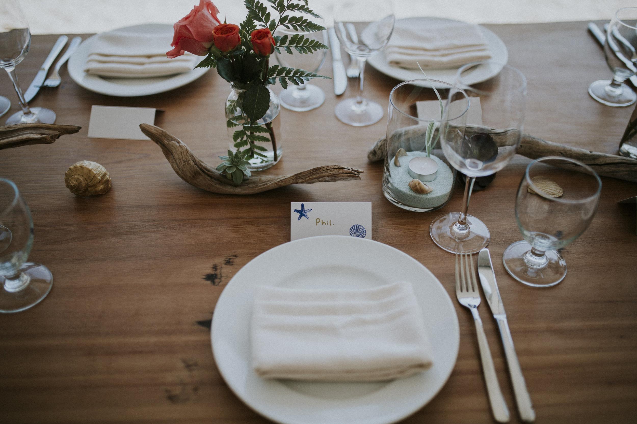 table setting beach wedding seashell beach tofino