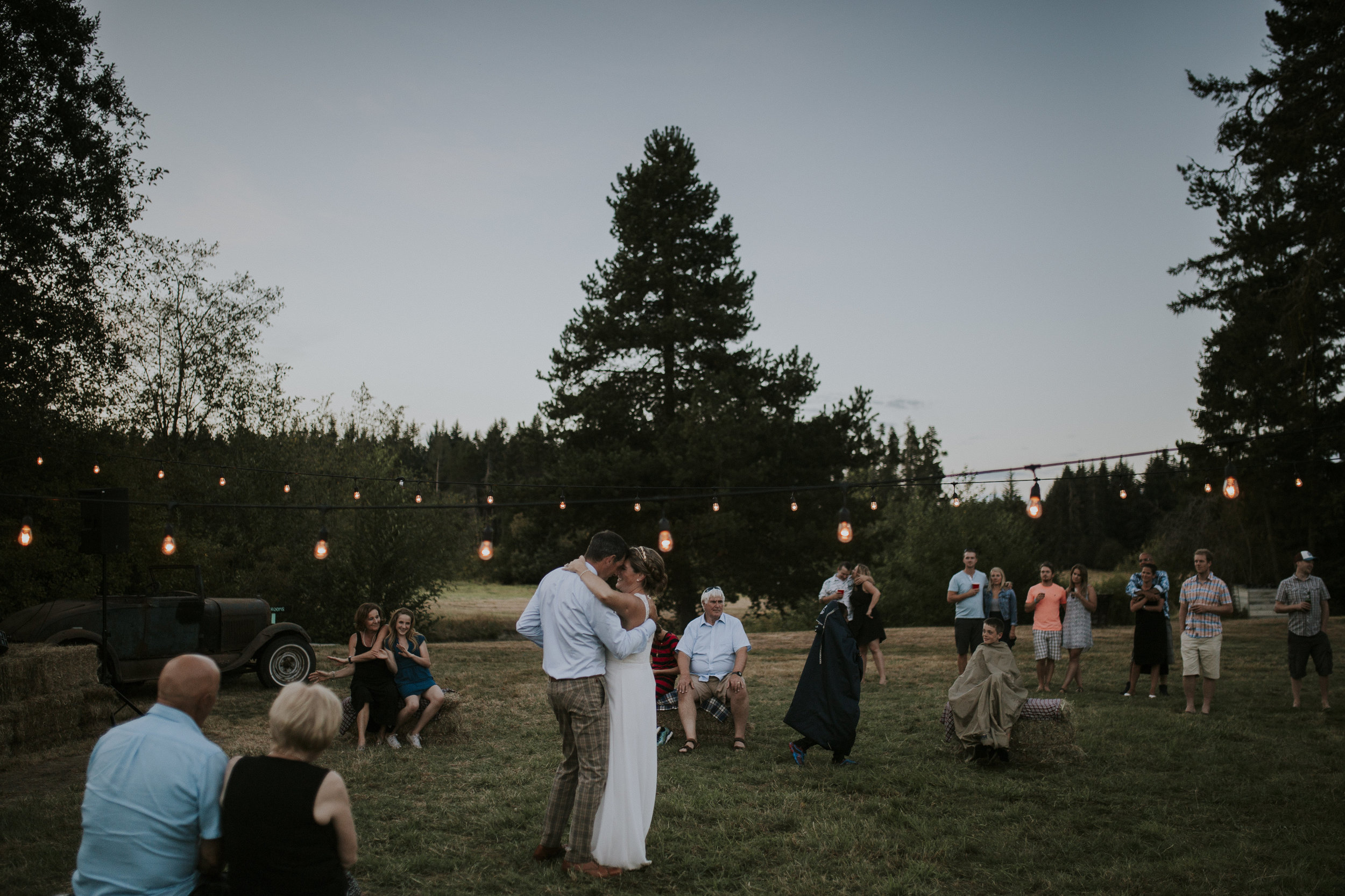 Newly wed couple dancing Wedding reception at the Guild King Francis Park Forest wedding ceremony Vancouver Island