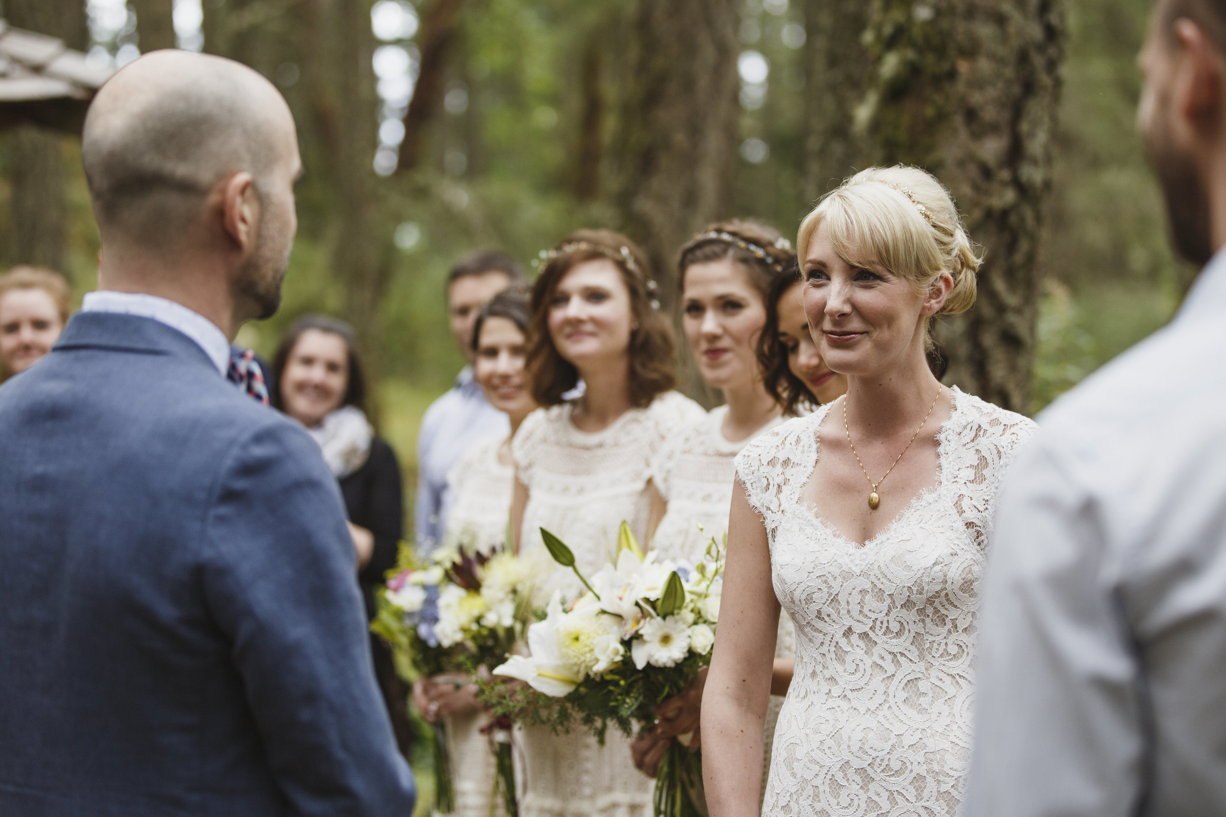 Bride and Groom looking at each other King Francis Park Forest wedding Vancouver Island