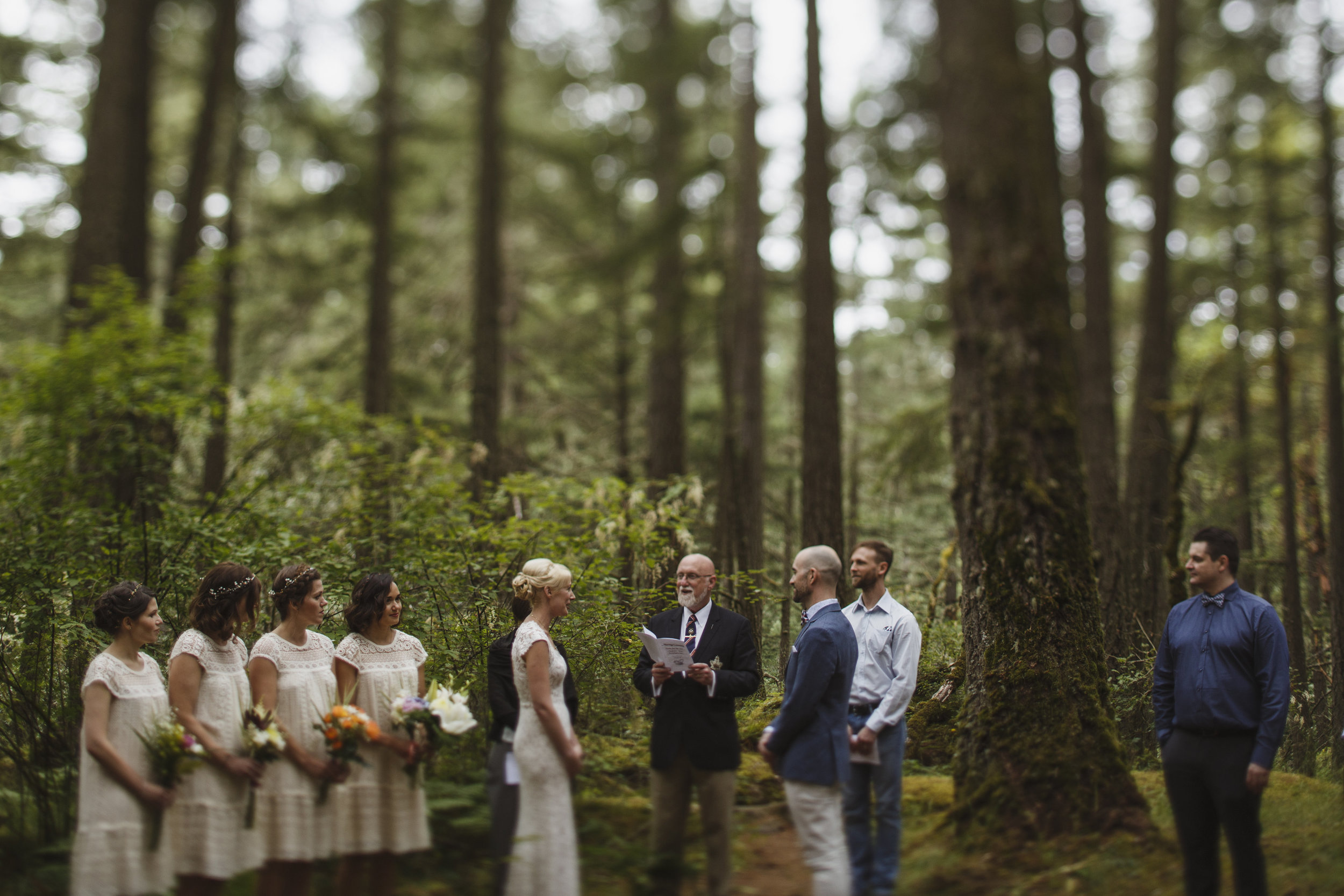 Bride and Groom exchange vows King Francis Park Forest Wedding Vancouver Island