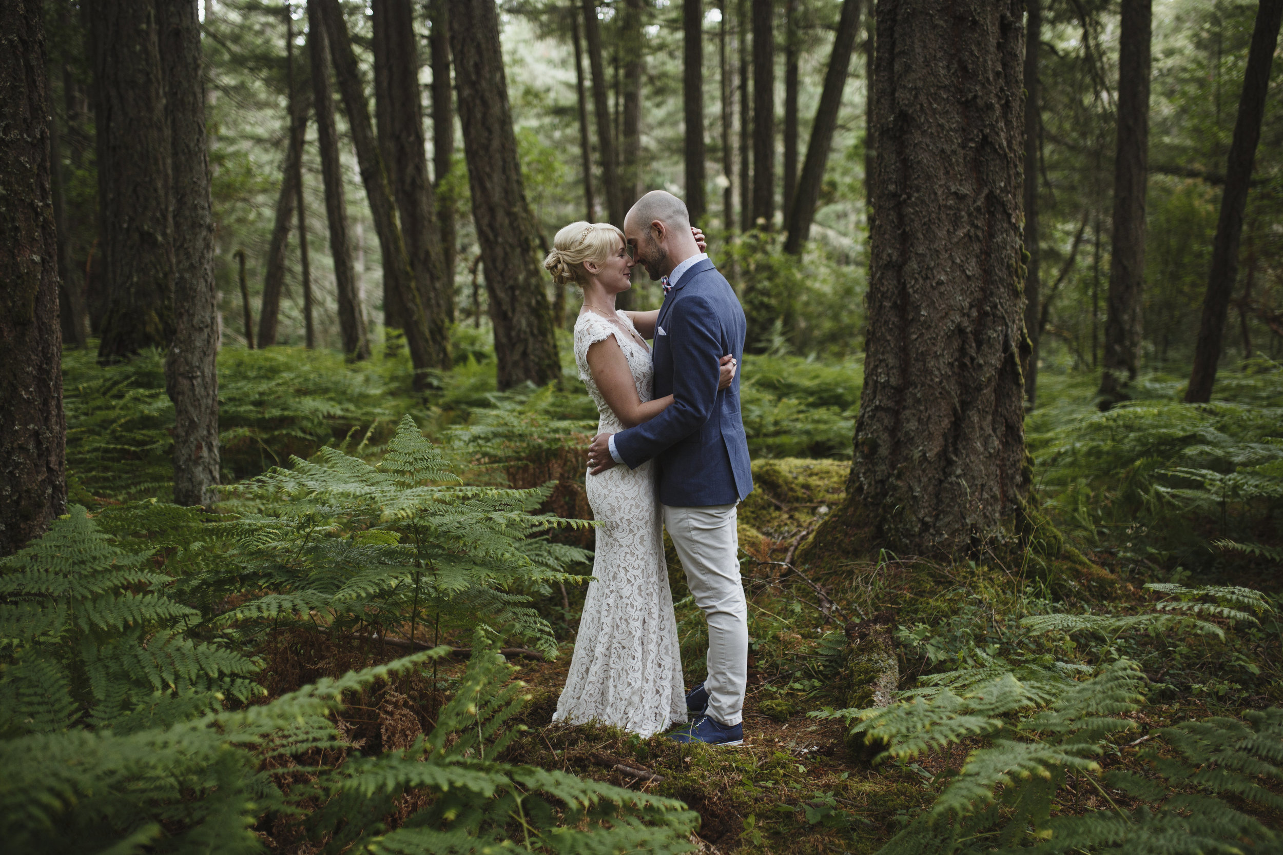 Newly wed couple bride and groom King Francis Park Forest wedding Vancouver Island