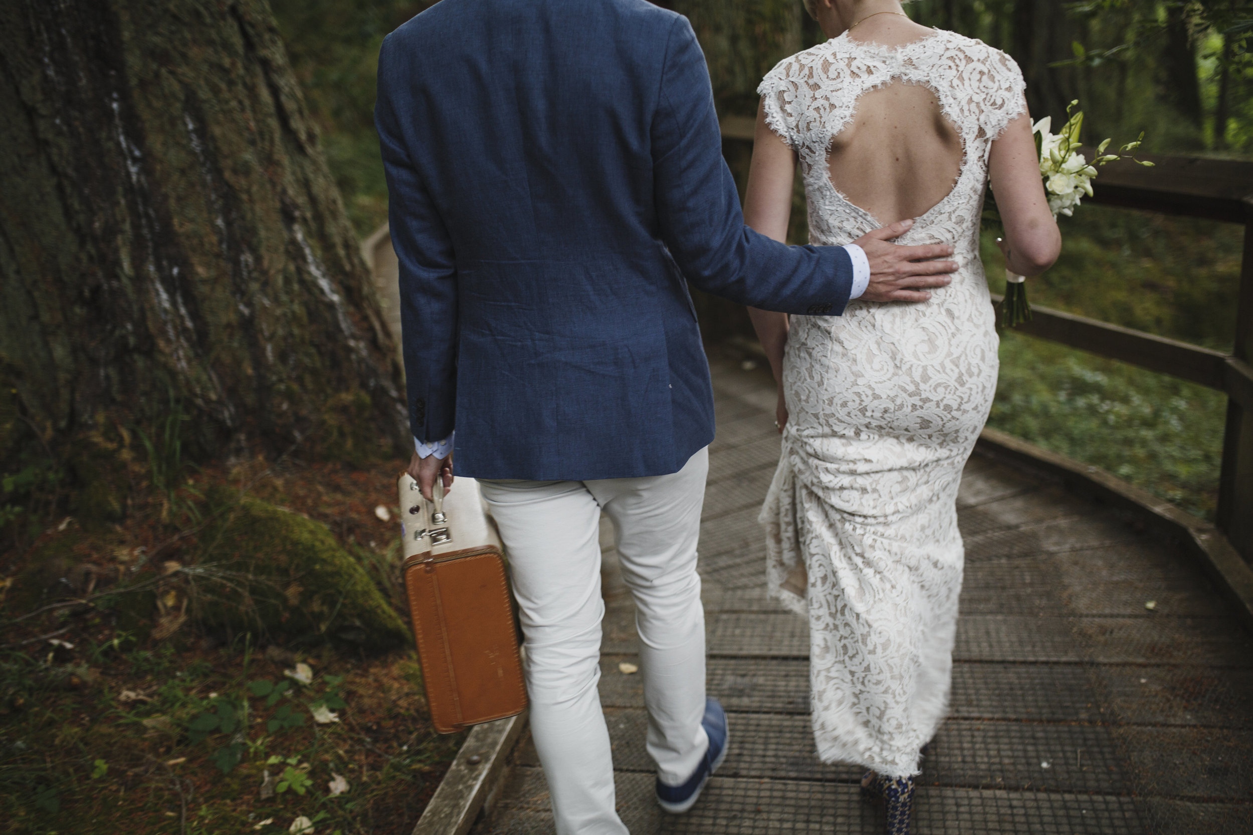 Newly wed couple Forest wedding King Francis Park Vancouver Island