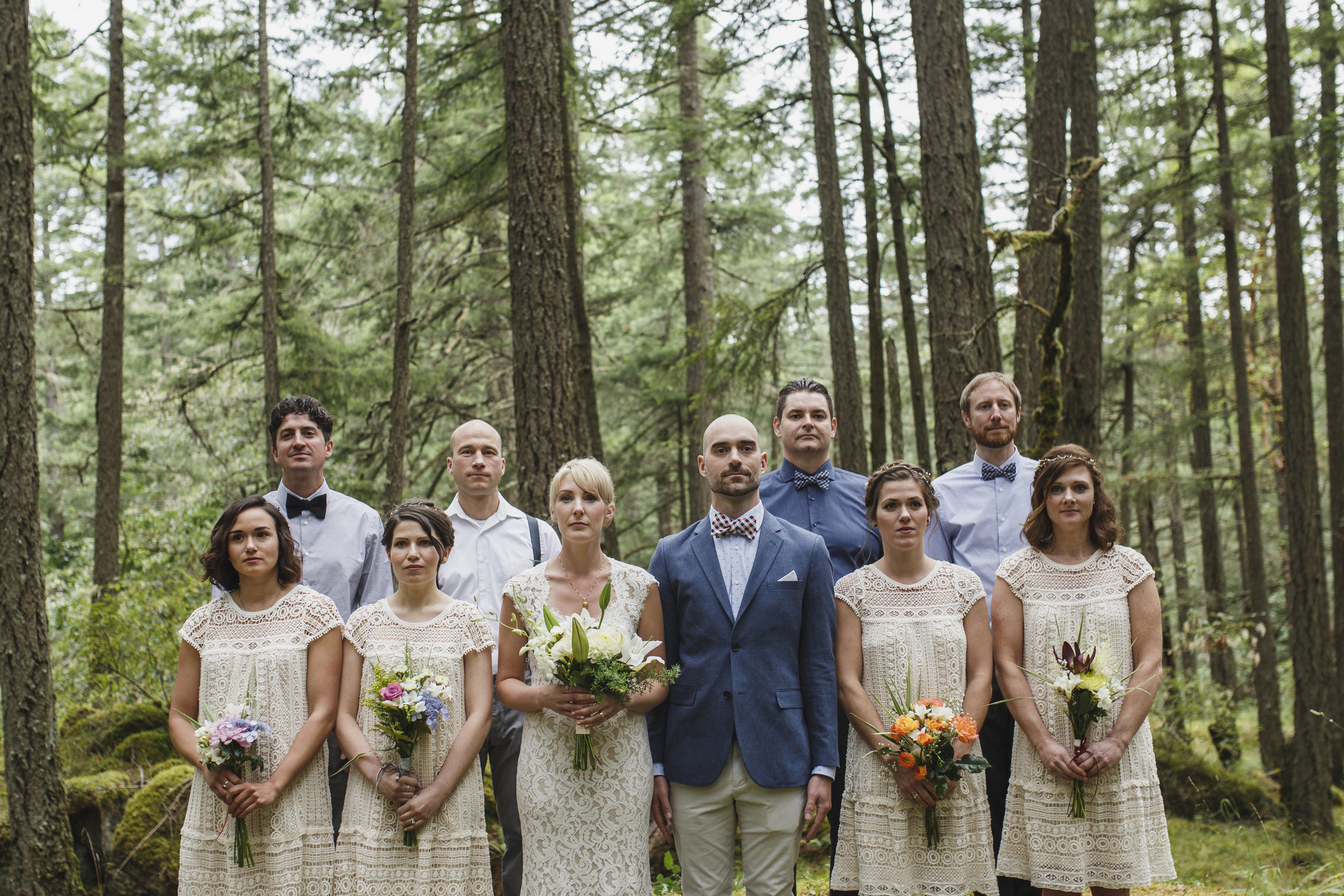 Newly wed Bride and Groom with Bridesmaid and Groomsmen Forest Park wedding King Francis Park Vancouver Island