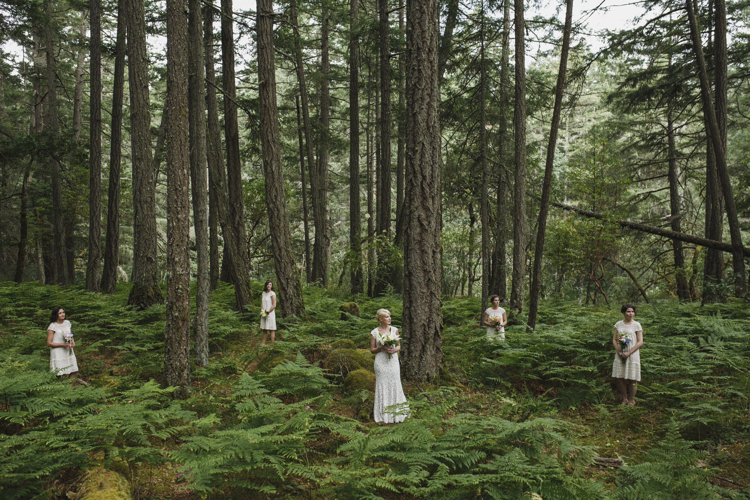 The Bride and her bridesmaids Forest wedding in King Francis Park Vancouver Island