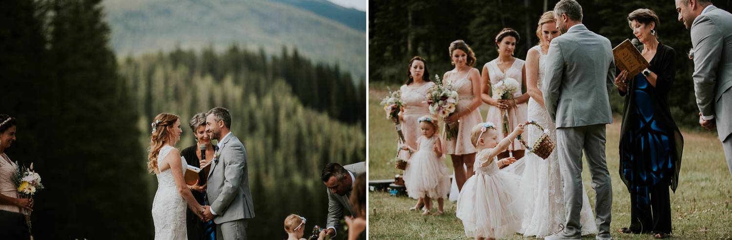 flower girl with flowers at mt norquay wedding