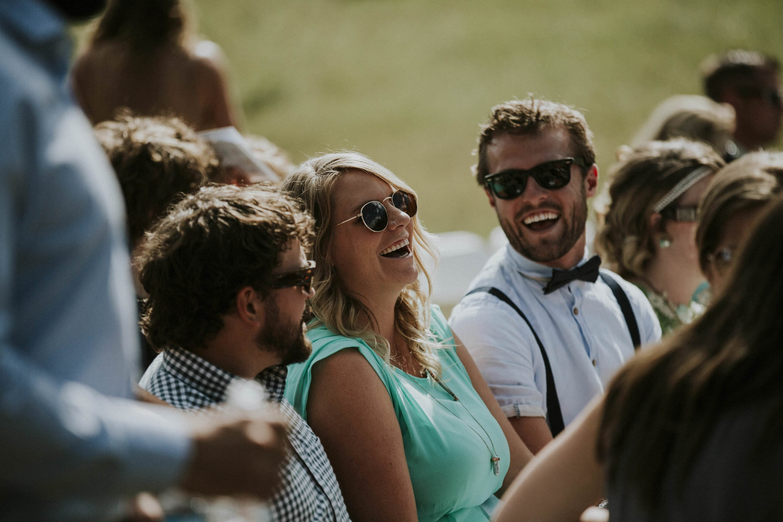 guests laugh at wedding ceremony mt norquay banff
