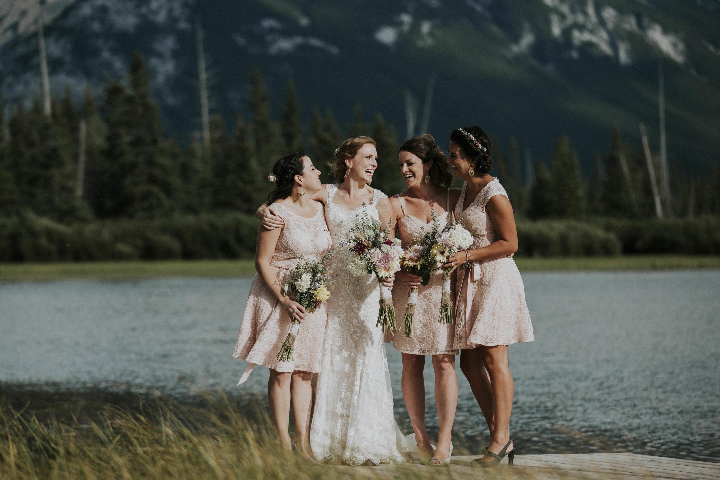 bridesmaids post at lake and banff mountian