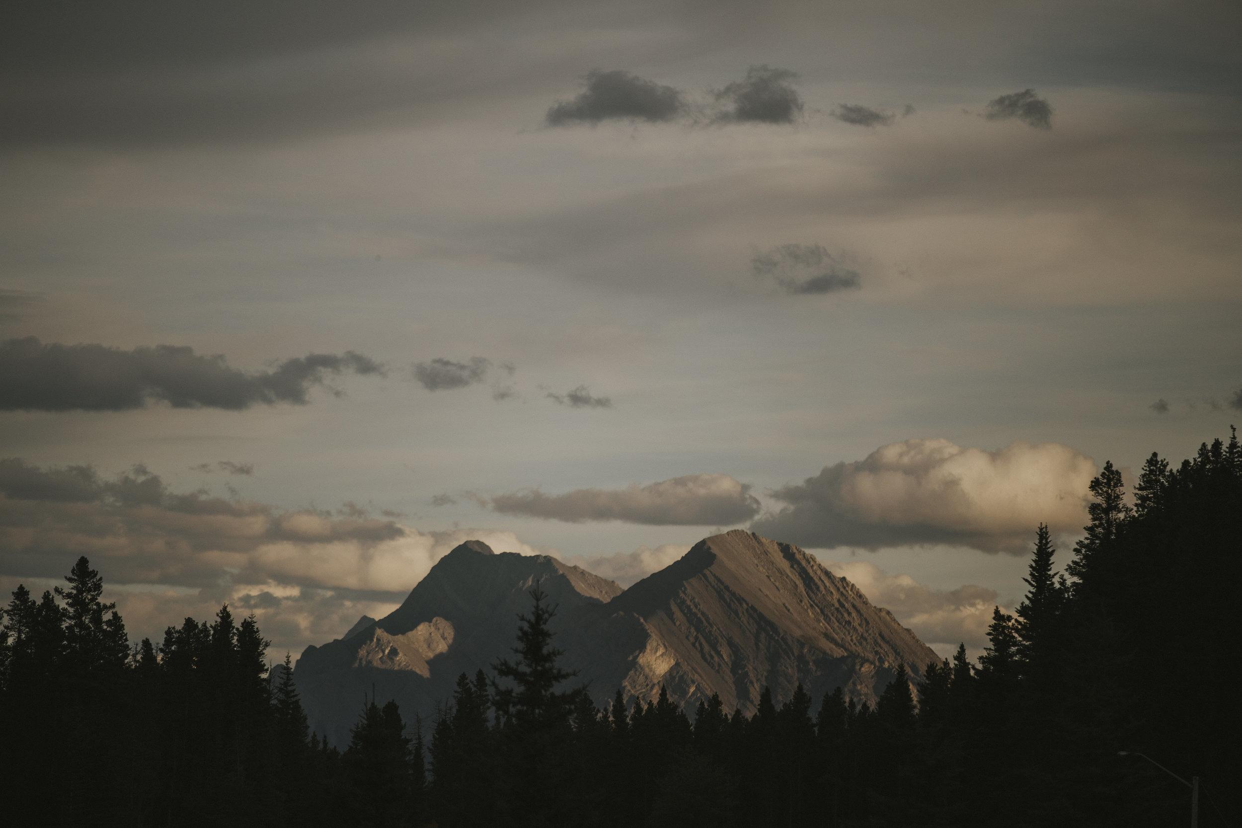 mountain in sunset light banff