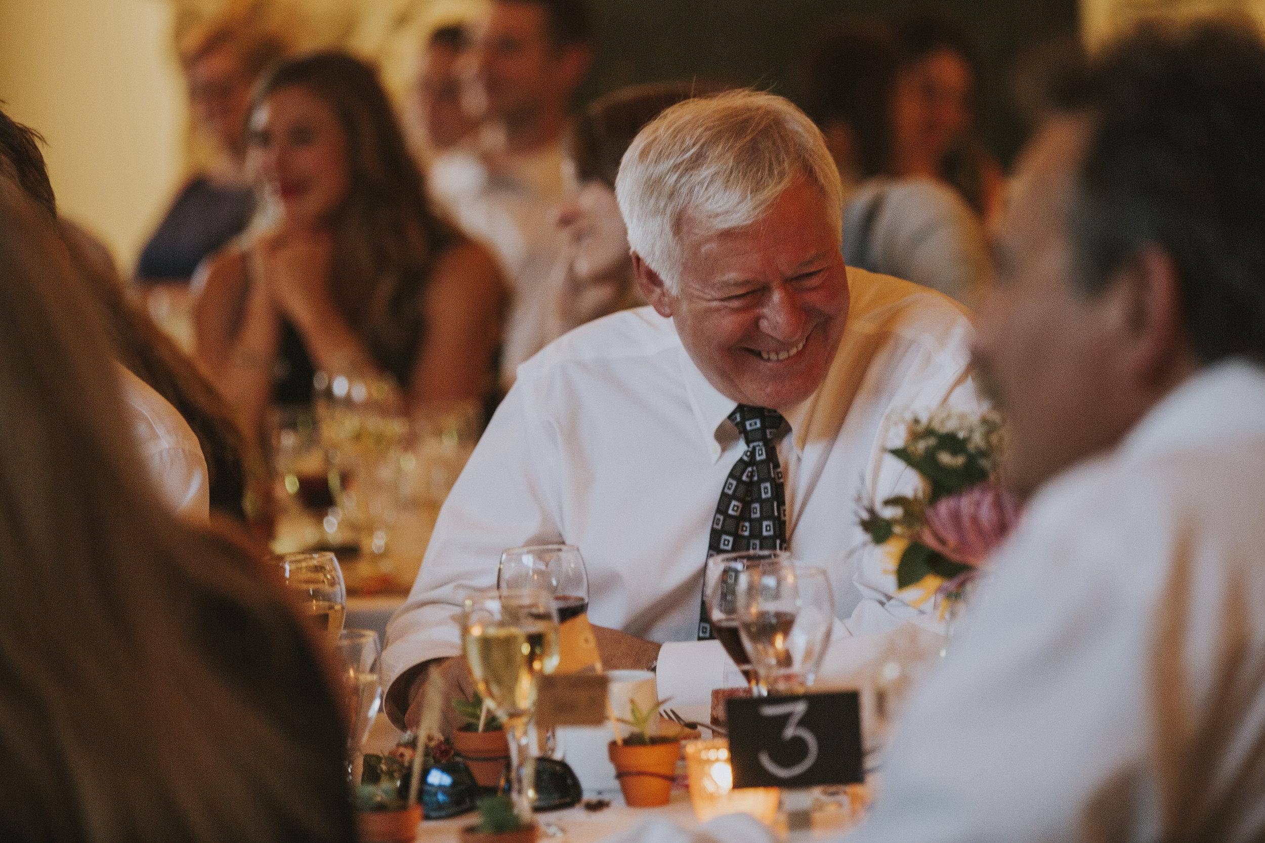 guest laughs at wedding reception mt norquay banff