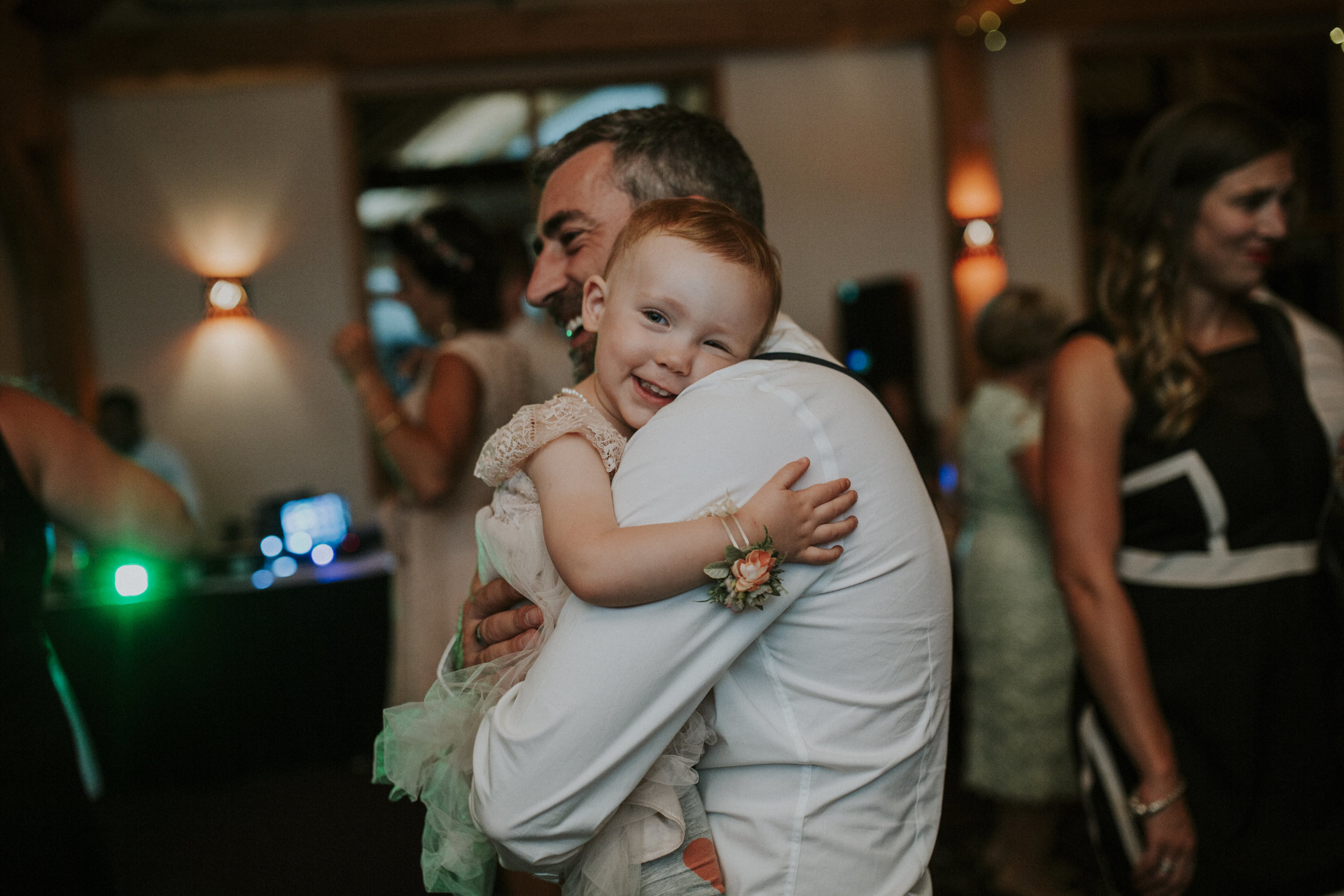 groom and daughter dance at wedding reception mt norquay banff
