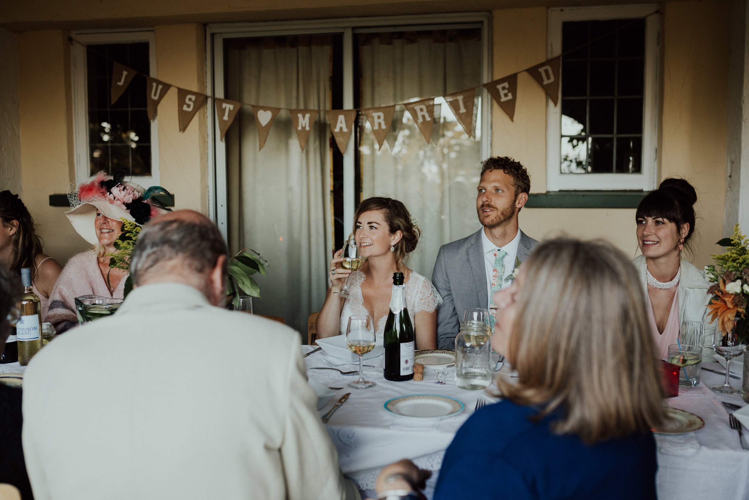 married couple at backyard wedding reception, Victoria, Vancouver Island wedding