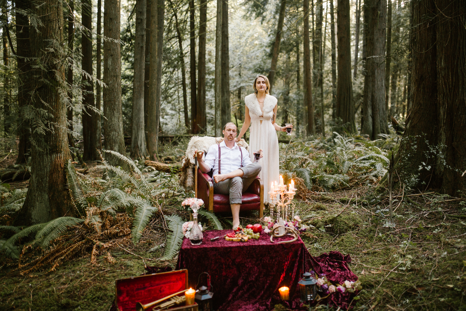 Couple in the forest like a king and queen in a fairytale Forest Engagement Victoria