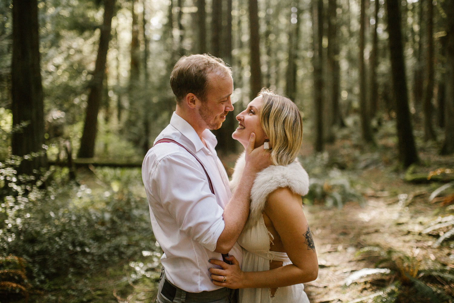 Couple holding each other Forest Engagement Victoria BC
