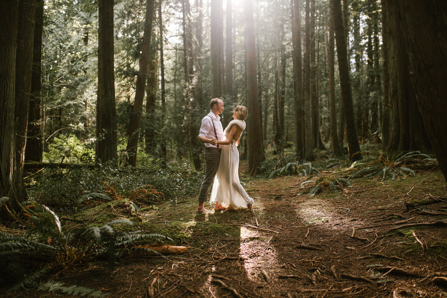 Couple embracing in the forest Fairytale Engagement Victoria