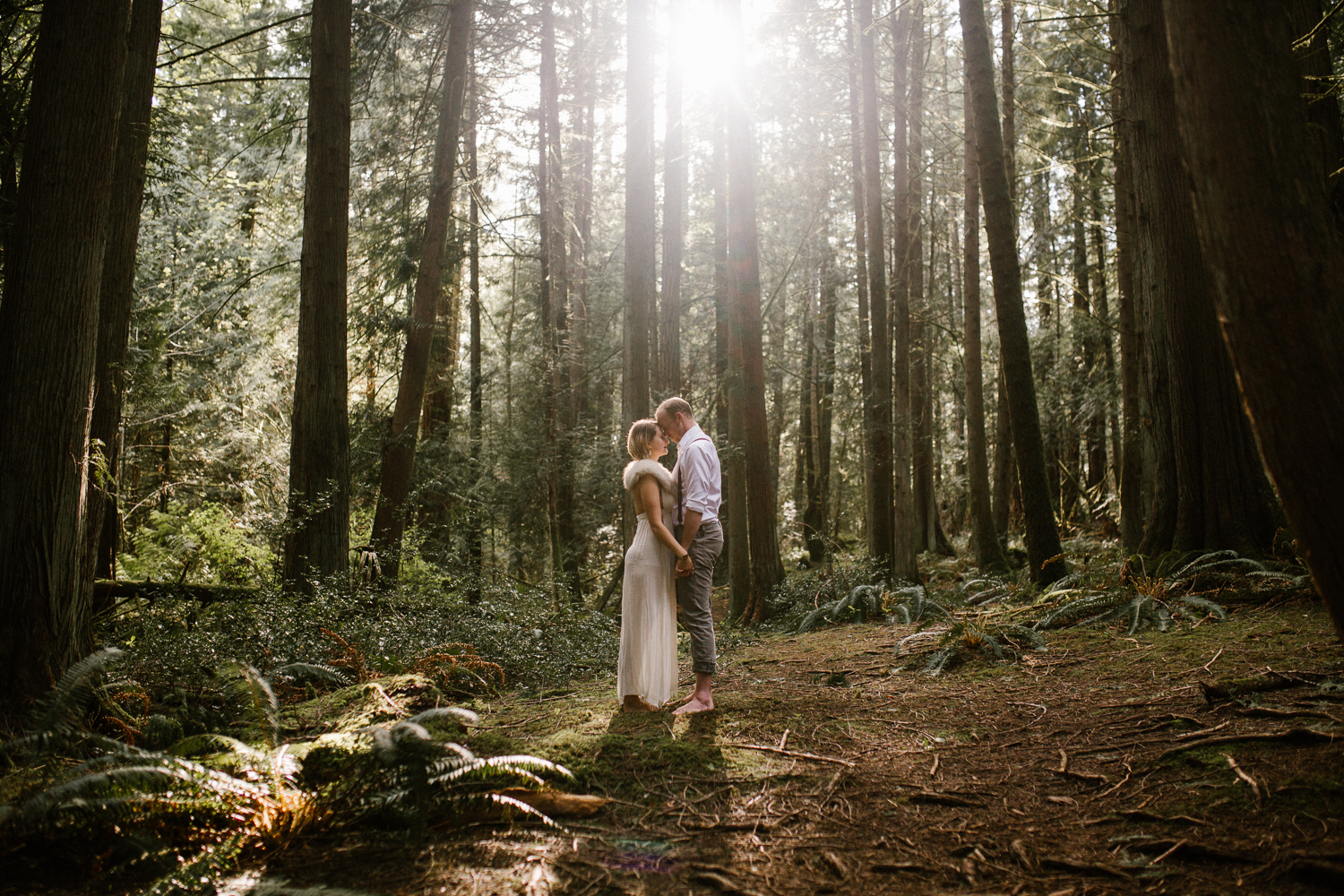 Couple in the forest Engagement Fairytale Victoria BC