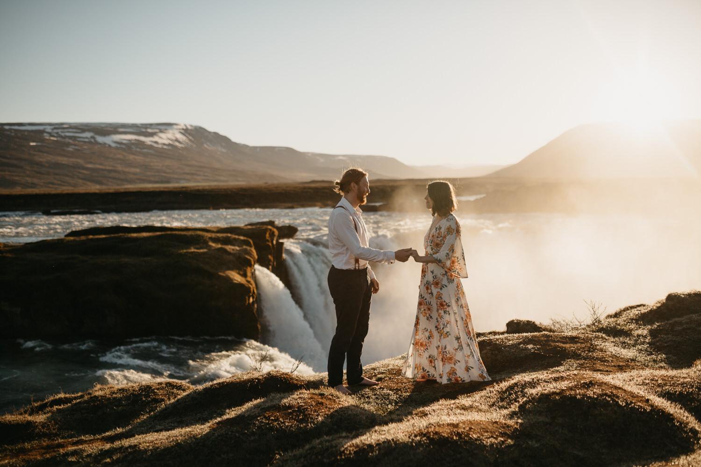 couple elopement at godafoss waterfall iceland