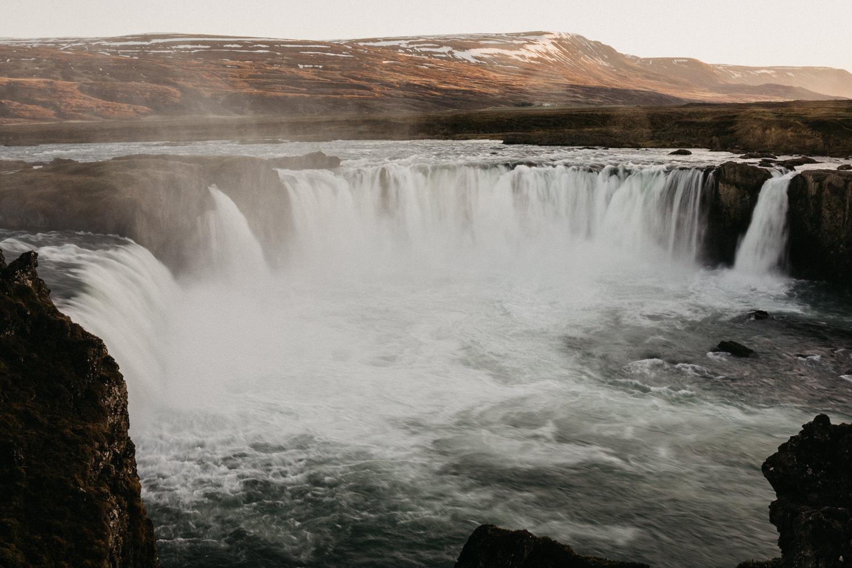 godafoss waterfall iceland sunset