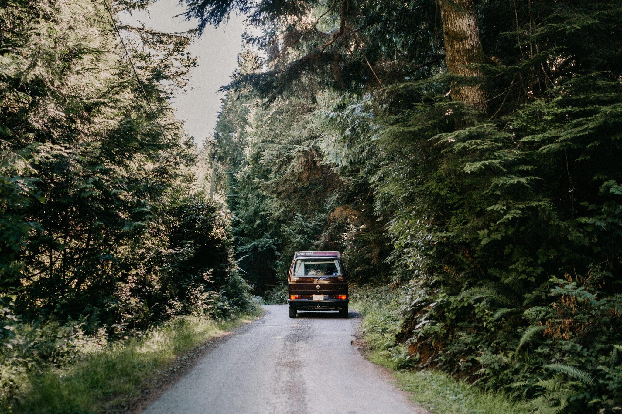 The road to the venue VW Westie Beachside Elopement Sombrio Beach Vancouver Island