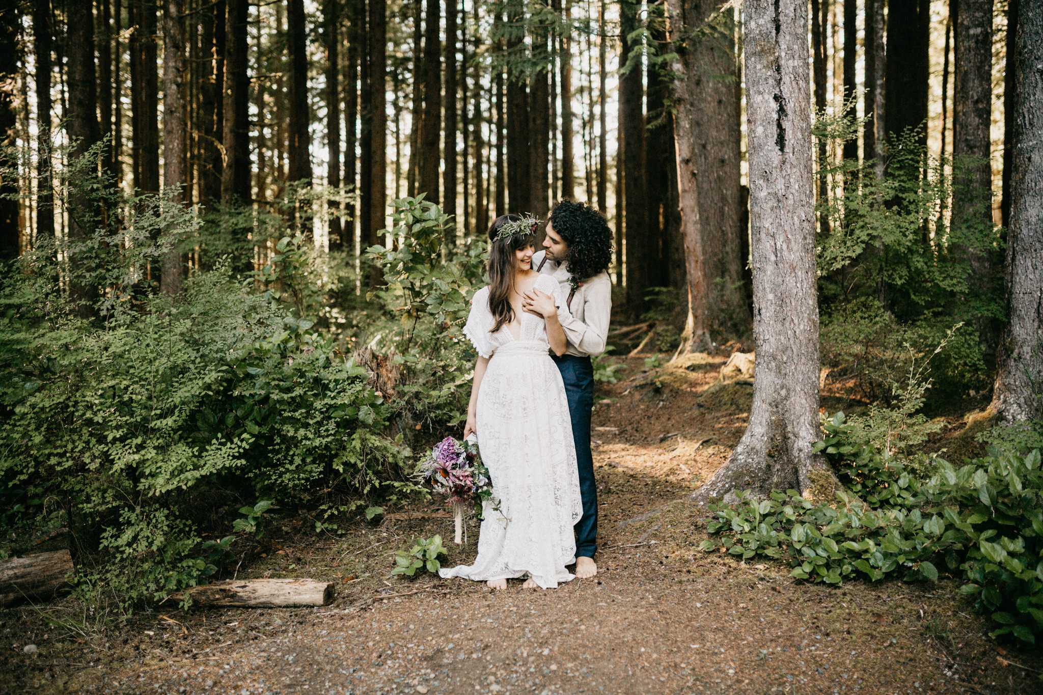 Forest shot of Bride and Groom Elopement Sombrio Beach Vancouver Island