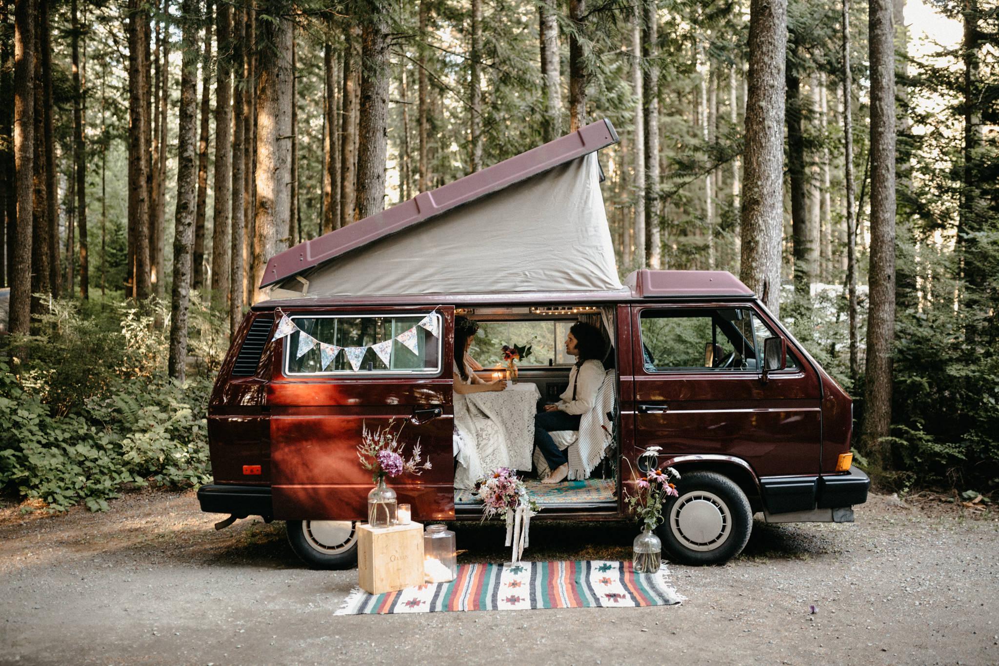 The camper van setup VW Westie Beachside Elopement Sombrio Beach Vancouver Island