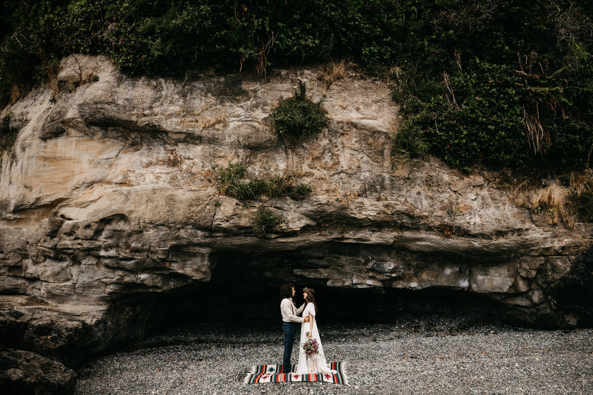 A simple ceremony on the beach elopement Sombrio Beach Vancouver Island