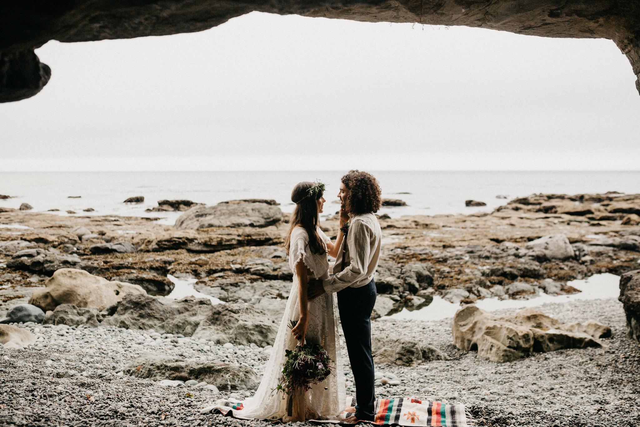 ocean ceremony elopement Sombrio Beach Vancouver Island