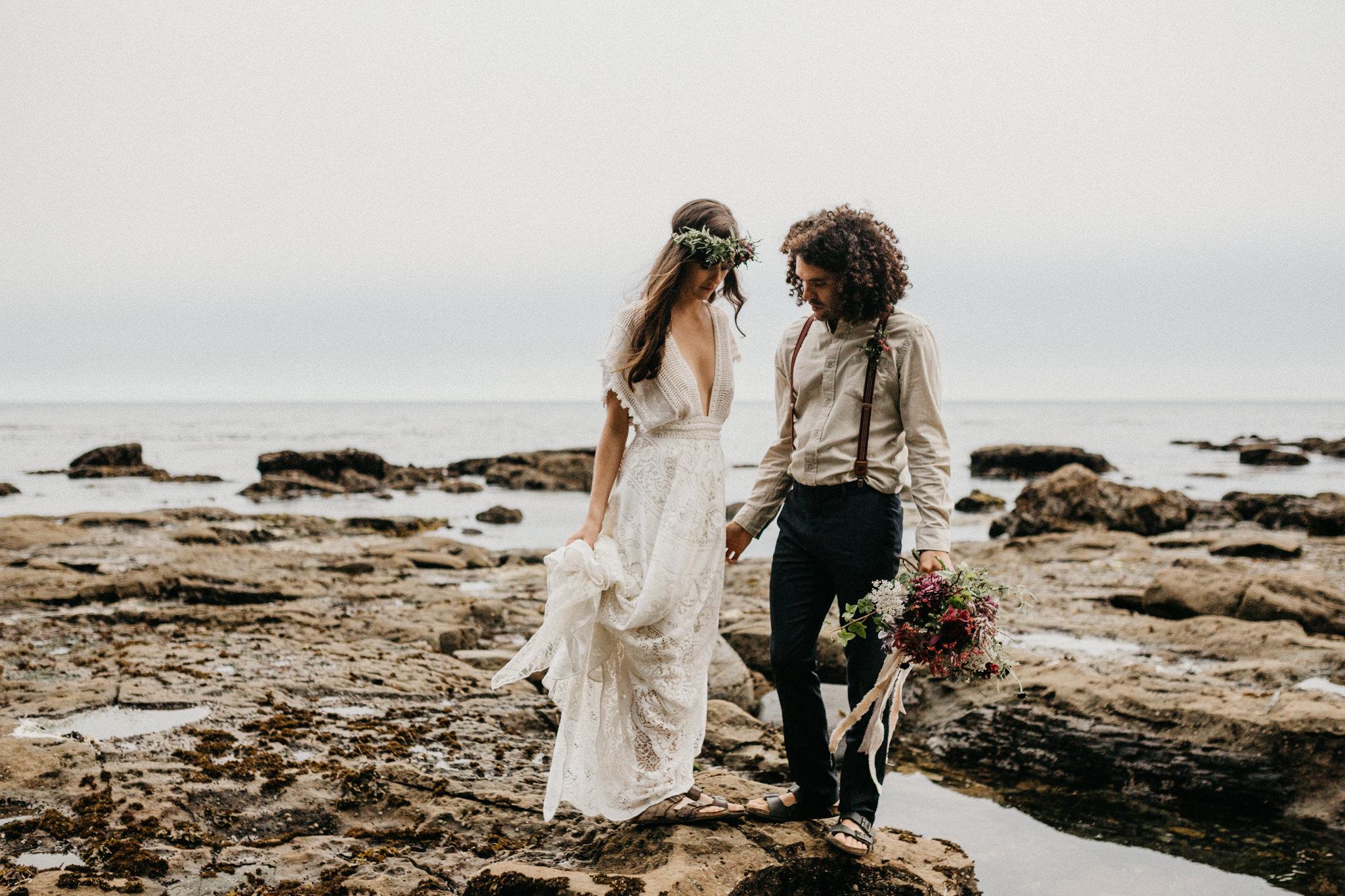 bride and groom elope Sombrio Beach Vancouver Island