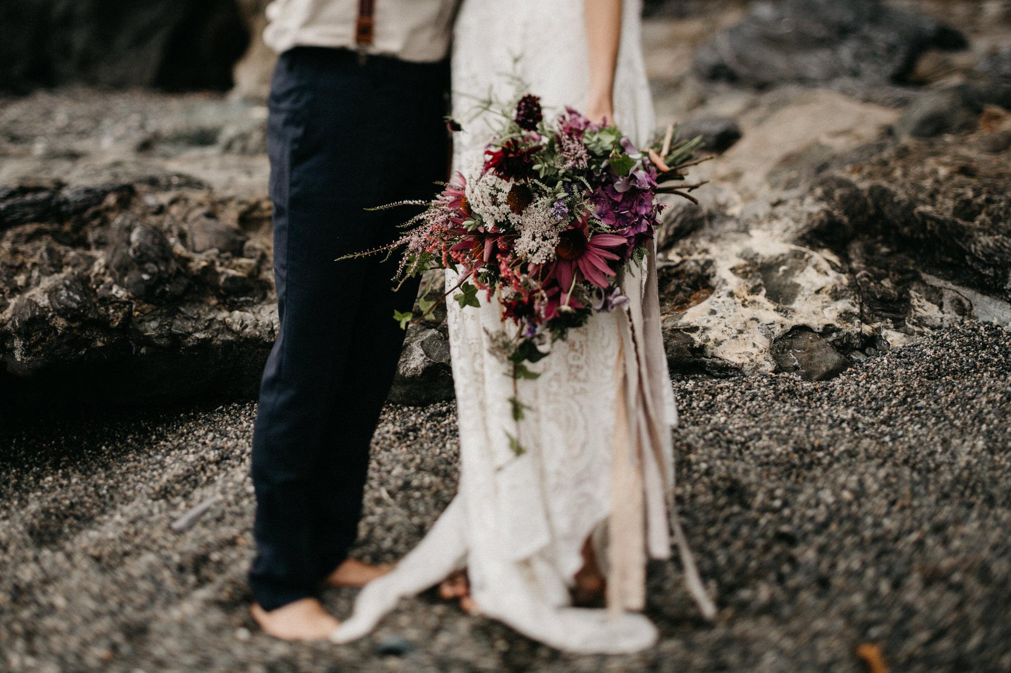 The bouquet of flowers Sombrio Beach Vancouver Island elopement