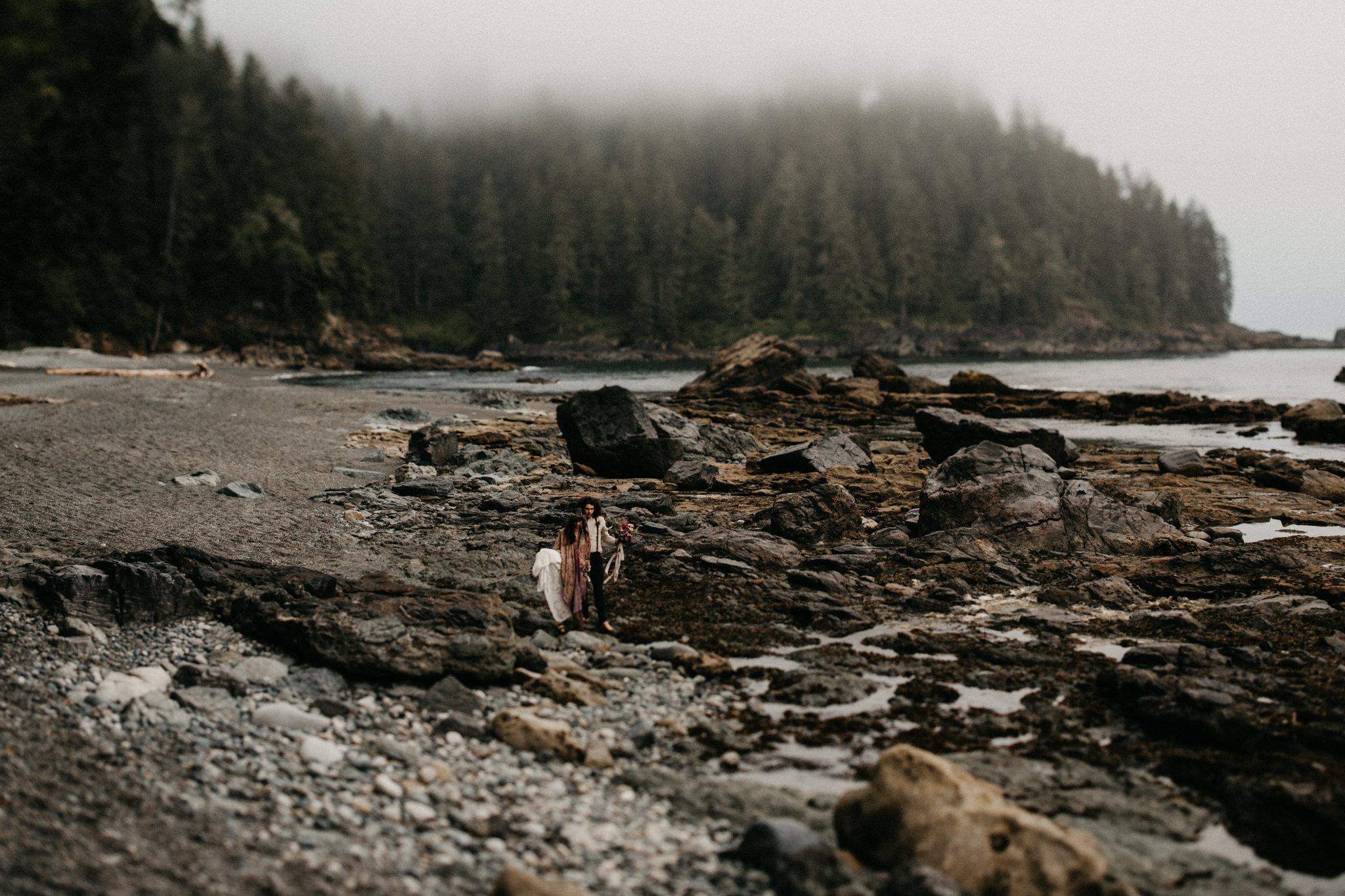 The rocky shoreline Sombrio Beach Vancouver Island elopement