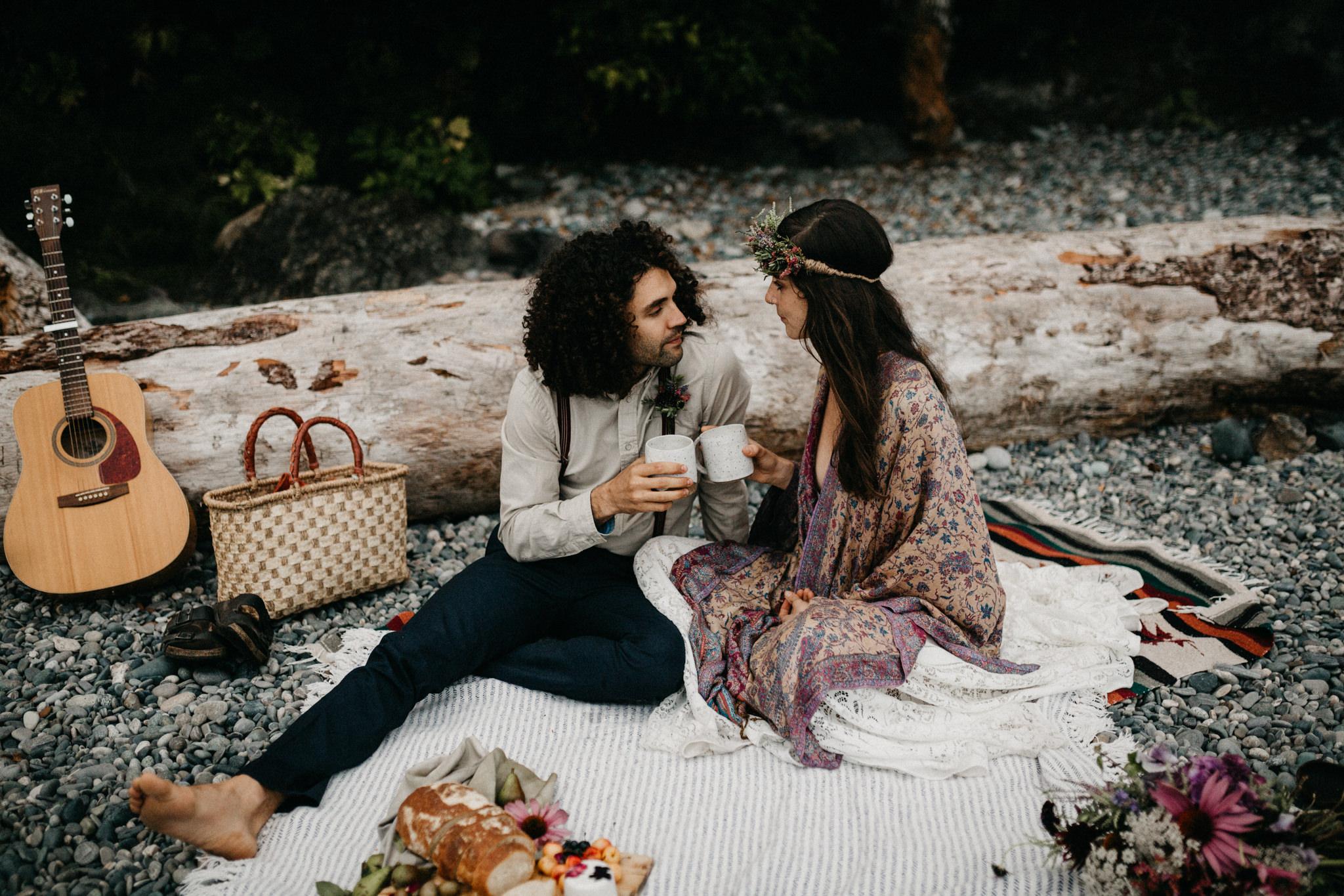 Couple enjoying at the beach Elopement Sombrio Beach Vancouver Island