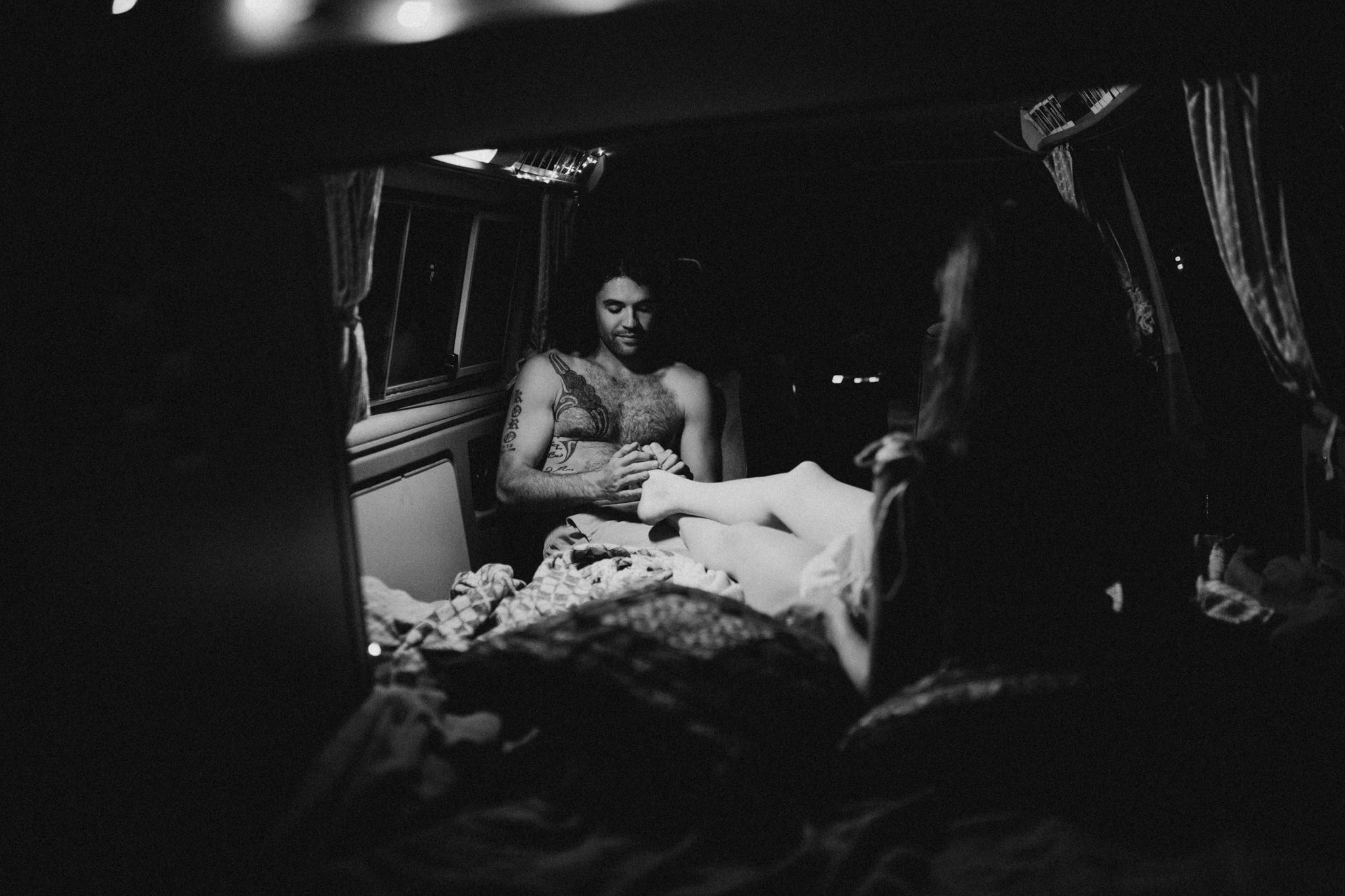 The Couple sharing the night in a camper van VW Westie Sombrio Beach Vancouver Island