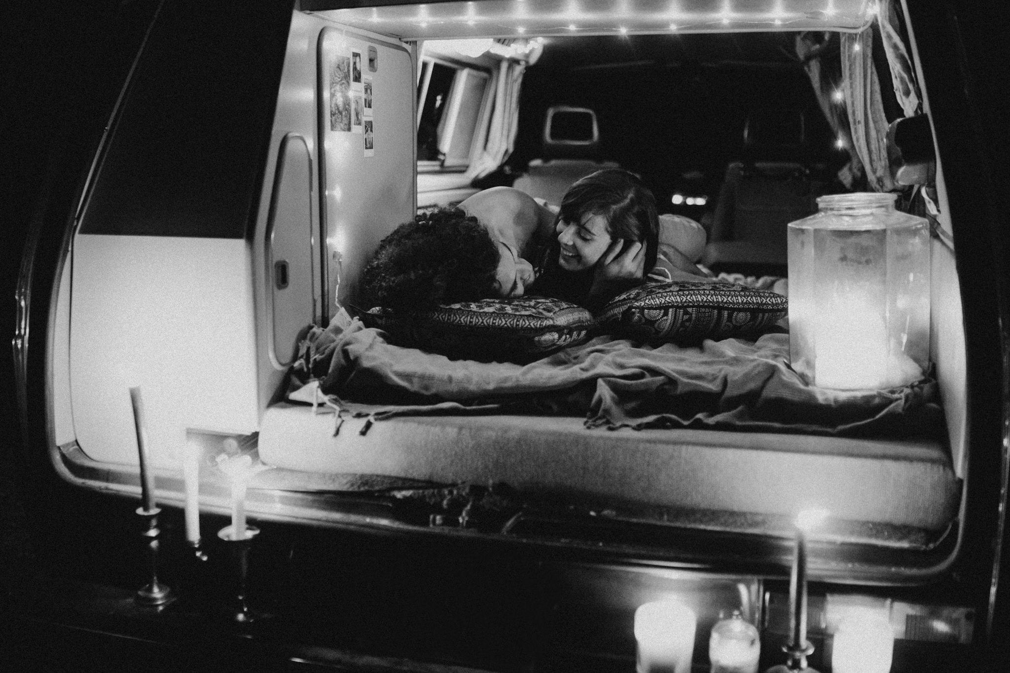 The couple enjoying each other inside a camper van VW Westie Elopement Sombrio Beach Vancouver Island