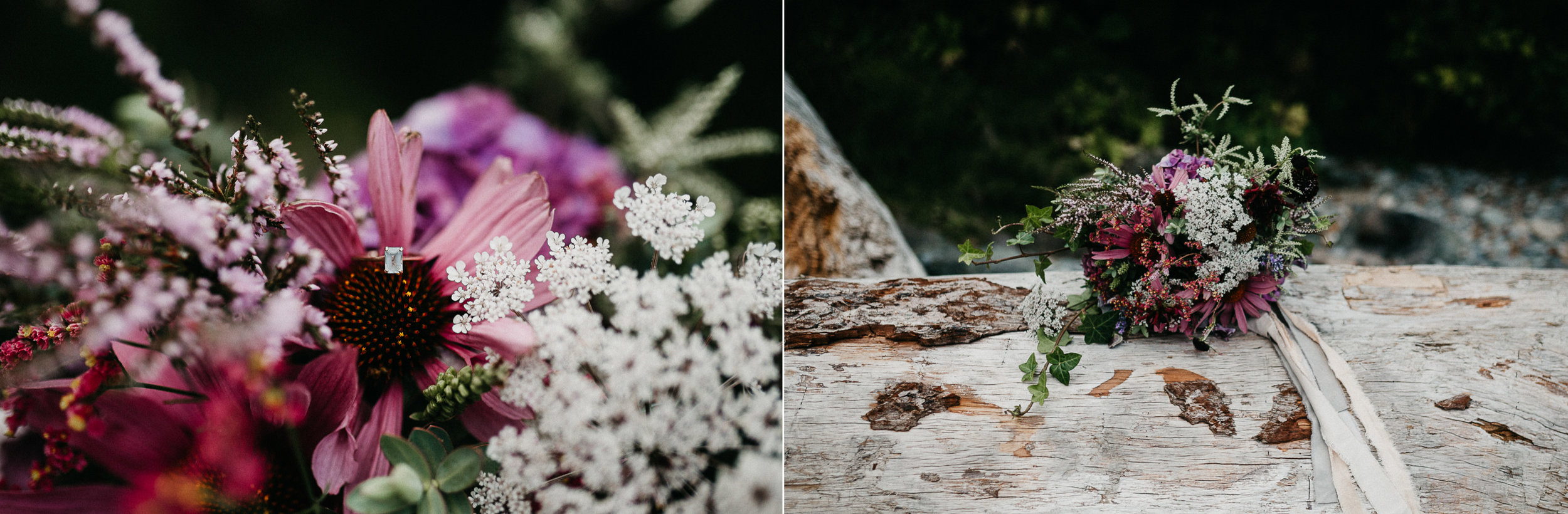The bouquet of flowers and wedding ring Sombrio Beach Vancouver Island wedding