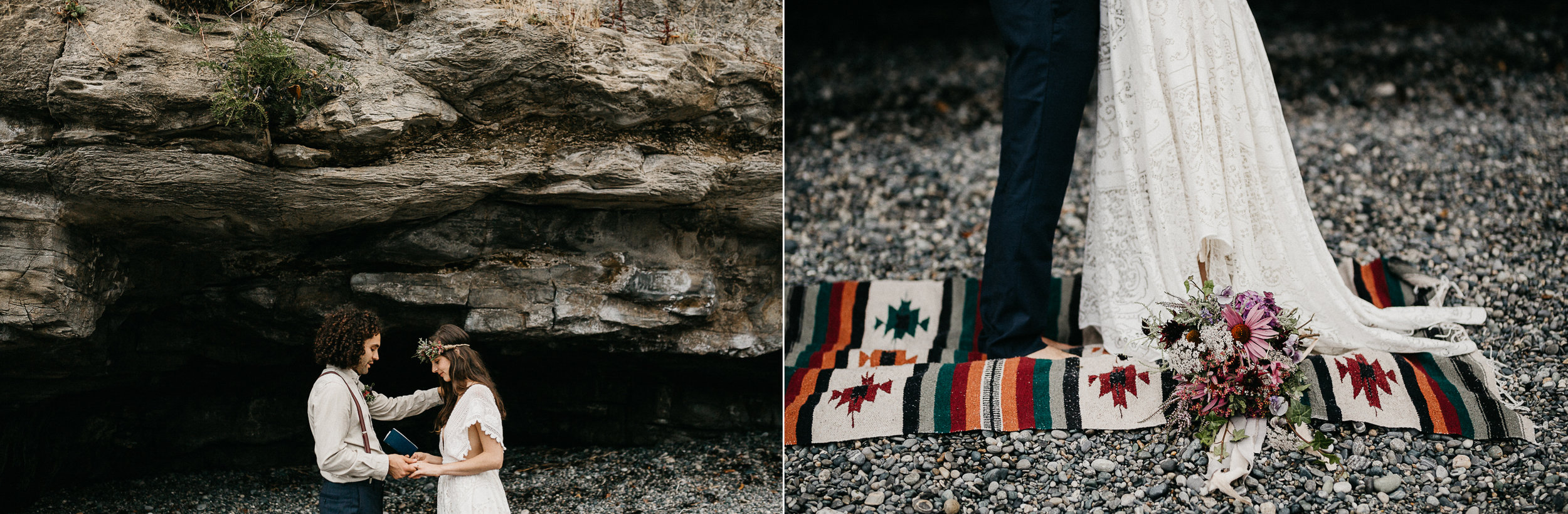 A rug in the beach during ceremony elopement Sombrio Beach Vancouver Island