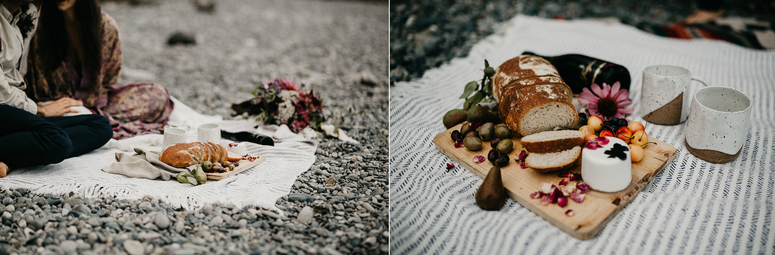 The meal by the beach Sombrio Beach Vancouver Island elopement