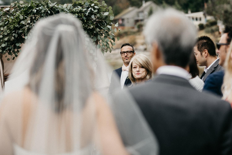 The Bride walking towards her groom Galiano Inn Wedding