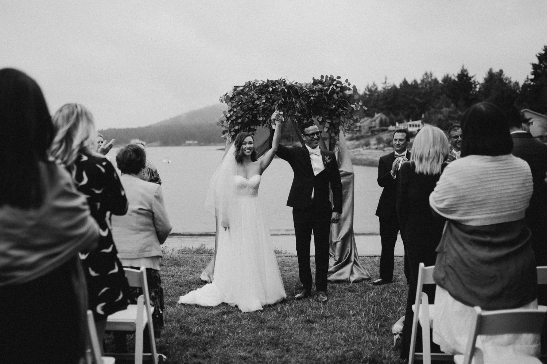 Newly wed Bride and Groom Galiano Inn Beach Wedding Ceremony