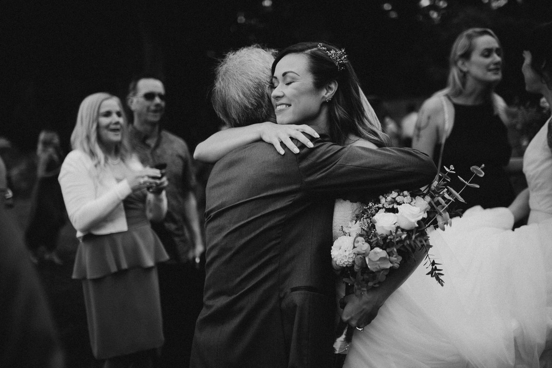 Bride embracing her father Galiano Inn Wedding Ceremony