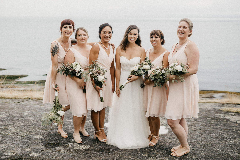 The Bride and her Bridesmaids Galiano Island Wedding