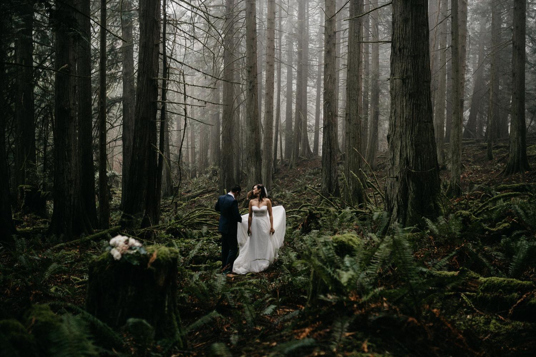 Bride and Groom in a foggy forest Galiano Island Wedding
