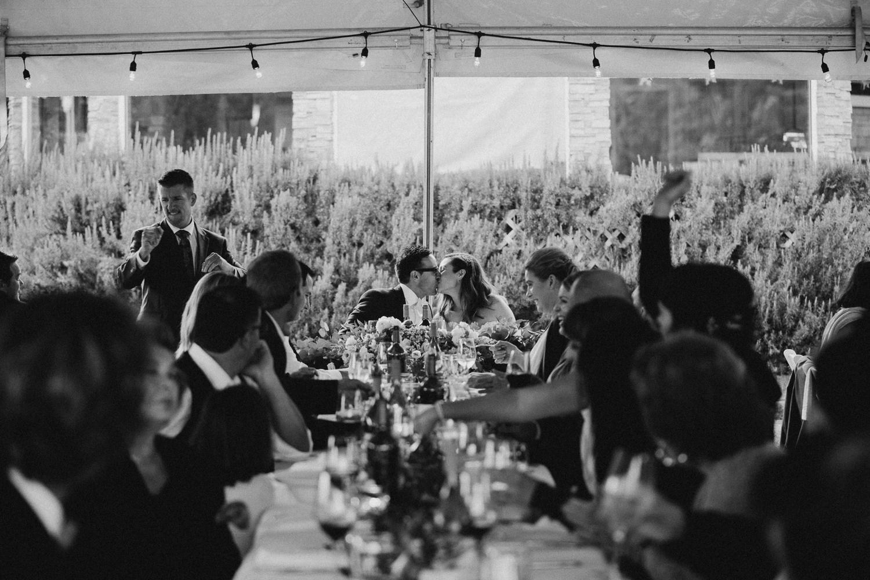 The wedding reception banquette Galiano Inn Forest Wedding Ceremony