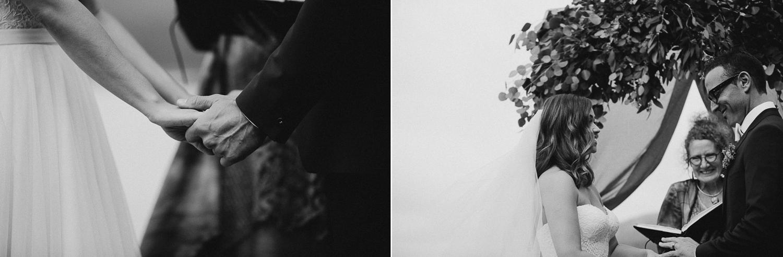 Groom holds the Bride's hands Galiano Inn Wedding