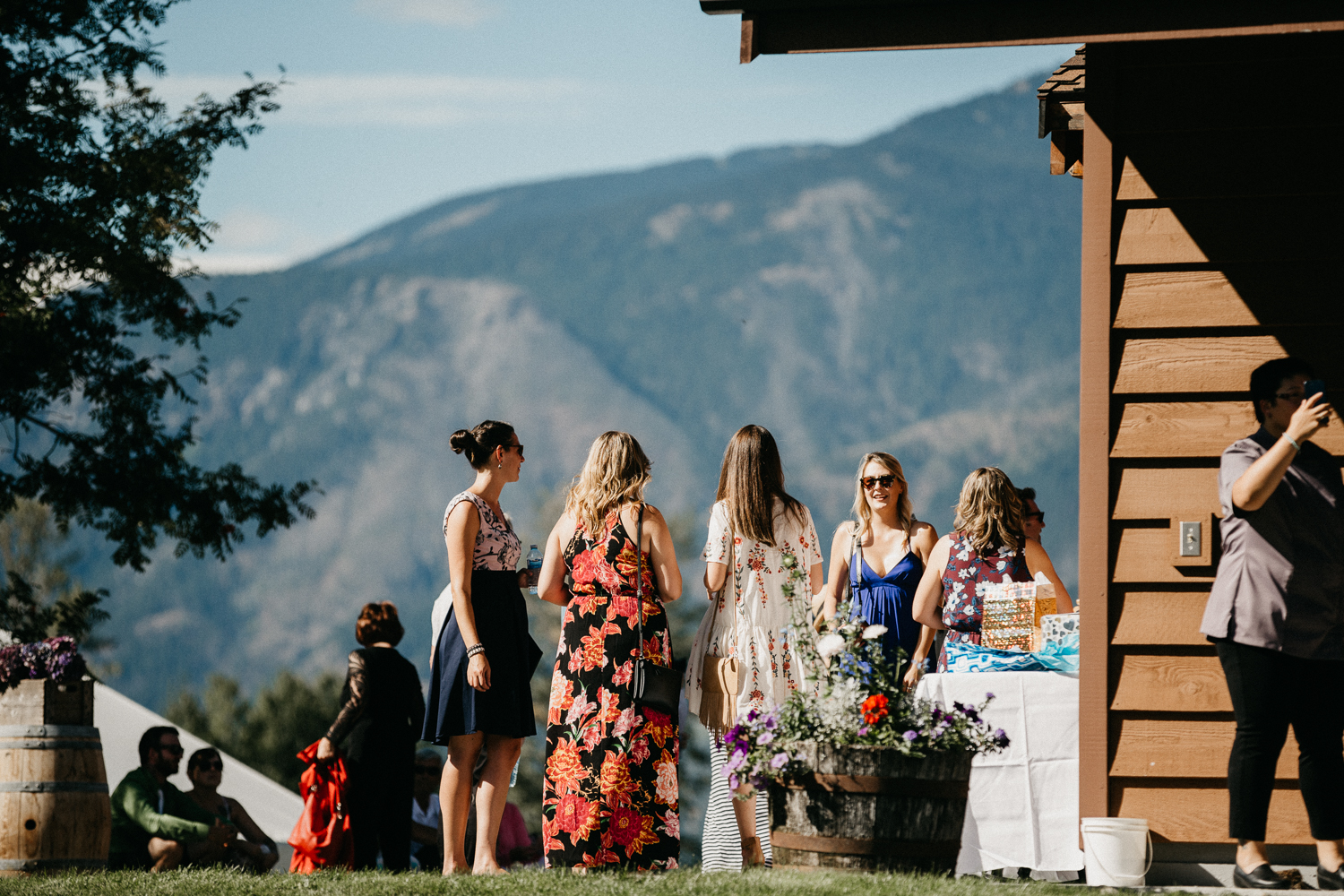Guests wait at ceremony site Pemberton Farm wedding