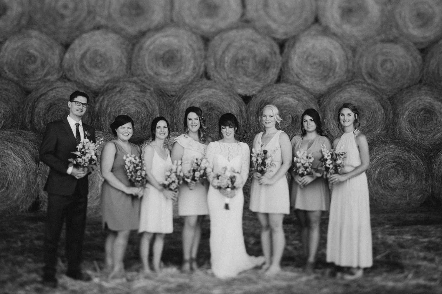 Bride and her bridesmaids Pemberton farm wedding