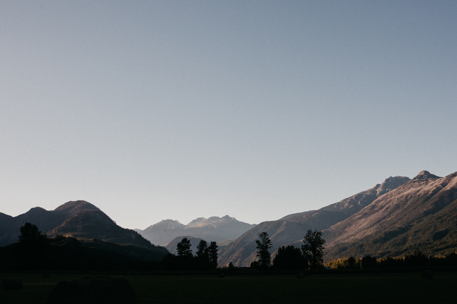 sunsets in Pemberton Valley at farm wedding